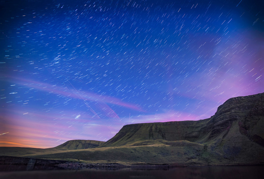 Bannau, Sir Gaer and Fan Brycheiniog from Llyn y Fan Fach Black Mountain Brecon Beacons Carmarthenshire Dark Skies South