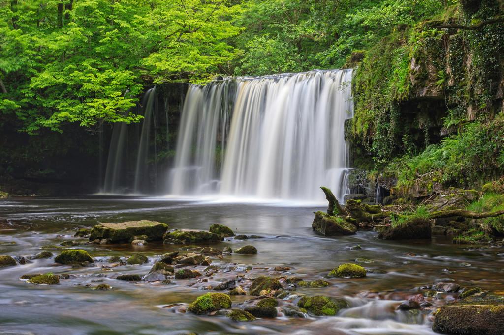 Upper Ddwli Falls Sgwd Ddwli Uchaf Nedd Fechan River Near Pontneddfechan Waterfall Country Brecon Beacons Powys South Scenery