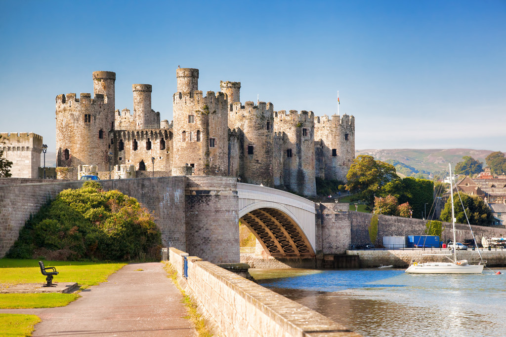 Conwy, Wales , United Kingdom- September 10, 2014: The Conwy castle with yacht