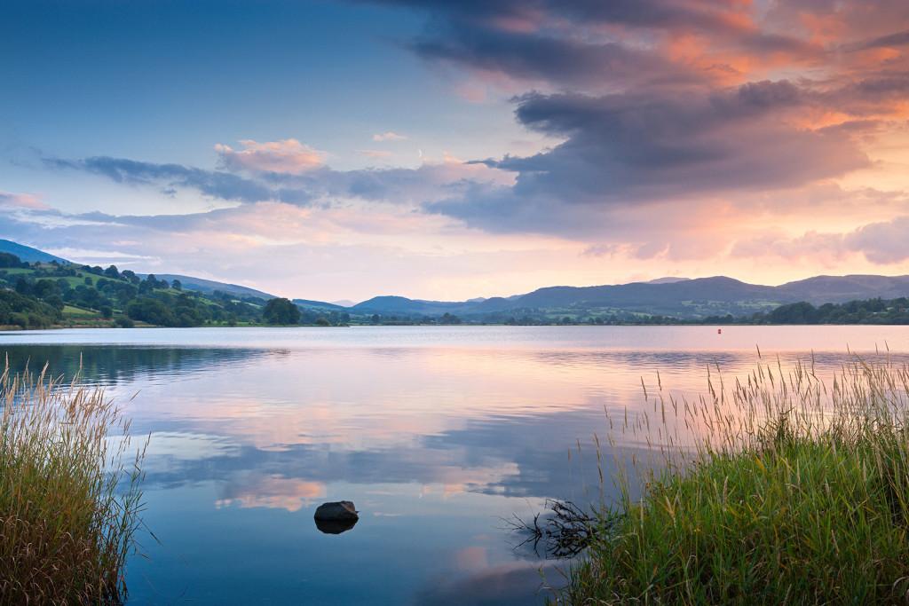 Bala Lake (Llyn Tegid) at sunset Gwynedd Snowdonia Mid Scenery